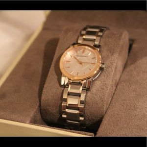 Burberry two tone rose gold watch